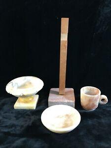 4 Vintage Marble/Alabaster Pieces Mini Bird Bath, Cup, Bowl, Base