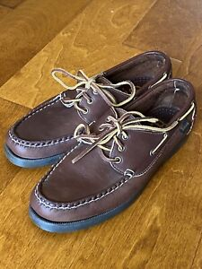 Allen Edmonds AE Center Fielder Boat Shoes Men's 8D Brown Baseball Leather $265