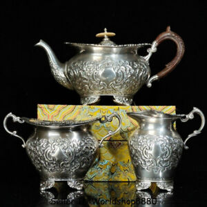 """11.4"""" Antique Old China Silver Dynasty Palace Flower Handle Wine Pot Flagon Set"""