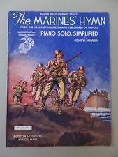 1942 The Marines' Hymn From the Halls of Montezuma Piano Solo Sheet Music GVC