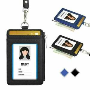 ID Badge Card Holders Leather Vertical Clip Neck Strap Lanyard Necklace Wallet