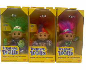 (3) Vintage New 1998 Treasure Trolls With Lucky Wishtones By Galoob