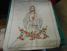 """Outstanding Embroidery on Linen of JESUS...17"""" x 20"""".........SALE"""