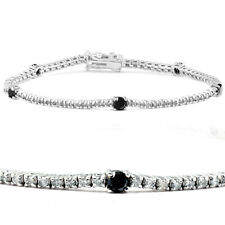 2 Ct Black & White Diamond Tennis Bracelet 14k White Gold 7""