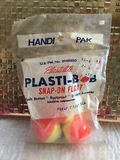 "2 FISHING BOBBERS 1.75"" Round Floats Yellow & Orange SNAP ON Plastic FLOAT"