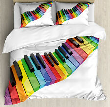 Music King Size Duvet Cover Set Vibrant Keyboard Arts with 2 Pillow Shams