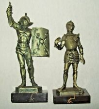 2 Depose Italy 400 & 69 Knights Shining Armor Statues Sculptures Marble Base Vtg