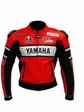 Brand New Mens Red Racing Motorbike Racer Cowhide Leather Jacket Hump Yamaha