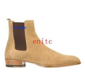 Mens Ankle Boots Chelsea High Top Real Suede Leather Manual Riding Shoes British