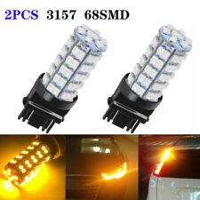 2Pcs Yellow 3157 3156 Car Reverse Light Backup 68-SMD LED Bulb Lights 3057P sa