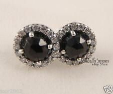 GLAMOROUS LEGACY Genuine PANDORA Silver/BLACK/Clear CZ Stones Earrings STUDS NEW
