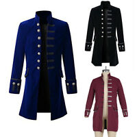 Men Uniform Victorian Frock Coat Gothic Steampunk Costume Long Vintage Tailcoat
