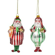 Red & Green Glass Father Christmas in Pyjamas Glass Christmas Tree Baubles