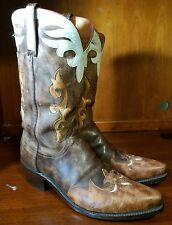 Lucchese 1883 Antique Brown Buffalo Leather Inlay wingtip Cowboy Boots Size 10.5