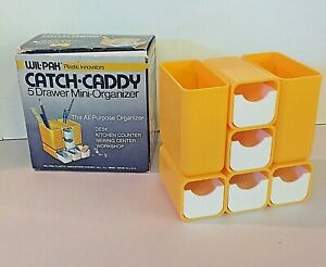 Vtg 80's Wil-Pak WilPak Plastic Catch Caddy 5 Drawer Mini All Purpose Organizer