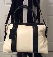"L.A.M.B. Colorblock Leather Satchel In Bone with Black Style # P1025 "" Grey """