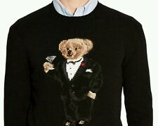 NEW Polo Ralph Lauren Martini Polo Tuxedo Bear Wool Sweater Knit extra large