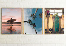 SURF Set of 3 Bedroom Posters FRAMELESS Wall Art Prints Home Decor