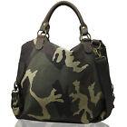 Bag Military Shoulder women XL Green Satche L Camouflage handbag canvas Leather
