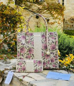NWT Brahmin Caroline Ivory Labyrinth Floral Leather Bag Satchel /wallet options