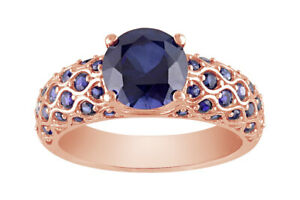 Round Lab-Created Sapphire 10K Rose Gold Scalloped Ring