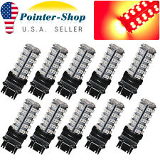 10x Pure Red 3157/3156 3528 68-SMD Tail Brake Stop Turn Signal LED Light Bulbs