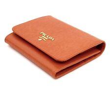 Prada Wallet Trifold Vitello Move Leather Orange New