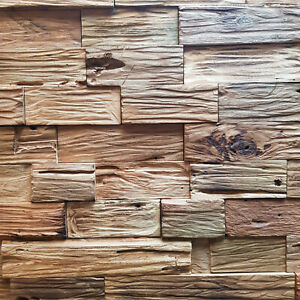 Wandverblender Mondo Wandverkleidung Teak Altholz Riemchen Holz Paneele rustikal