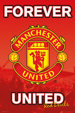Manchester United FC FOREVER UNITED Official EPL Team Crest Logo Wall POSTER