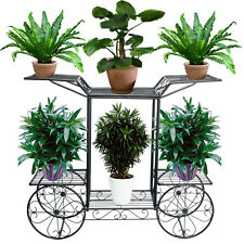 Metal Outdoor Indoor Pot Plant Stand Garden Decor Flower Rack Wrought Iron US