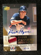 Rick Hague Signed 2009 Upper Deck USA Future Watch Auto Patch Baseball Card /50