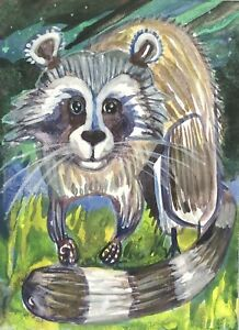 Raccoon Cute ACEO ATC original art card miniature collectible Unique Painting