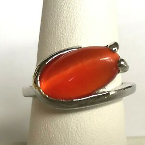 Silver Orange Cats Eye Cocktail Ring Size 5 Modern Style Simulated Plated