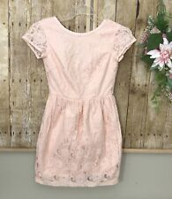 Women's H&M Conscious Collection Lace Dress sz 4 Open Back Zippers Peachy Pink