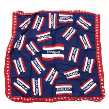 VINTAGE Thailand Bandana Blue Red Handkerchief Cotton  18x18 TCH Trading Co 90s