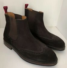 Polo Ralph Lauren Norbeck Chelsea Brown Suede Wingtip Ankle Boots 11.5D NWOB