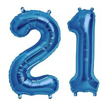 """16"""" 21 Blue Number Balloons 21st Birthday Party Anniversary Foil Balloon Decor"""