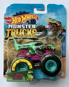 Hot Wheels Monster Trucks  ZOMBIE-WREX  With Crushable Car Very Rare !!