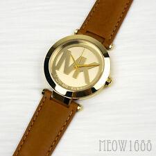 New Authentic Michael Kors Women 38mm Case Signature Gold Logo Watch MK2398