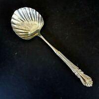 "Silver Plate Casserole Serving Spoon VTG 10"" Scallop Shell Scroll Handle Utensil"