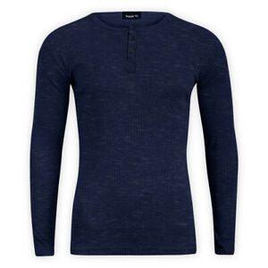 Men Cotton Casual Ribbed Top Navy Long Sleeve Crew Neck Regular T-Shirt Sweater