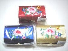3 pc Red Blue Gold Silk Cosmetic Box Double Lipstick Case