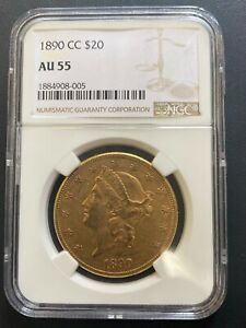 1890-CC $20 GOLD LIBERTY HEAD DOUBLE EAGLE NGC AU-55, CARSON CITY MINT