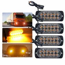 4X 12-24V AMBER RECOVERY CAR STROBE 12LED LIGHTS GRILL BREAKDOWN FLASHING LA3