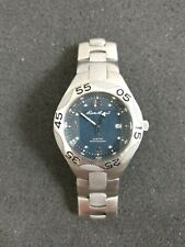 Eddie Bauer Mens Stainless Steel Watch Water Resistant Textured Band New Battery
