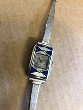 1930 Ladies Elgin 14K White Gold & Enamel Deco Wrist watch LOOK! Very Cool
