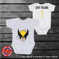 Marvel Wolverine X-men Inspired baby grow vest, kids t-shirt, any name & number