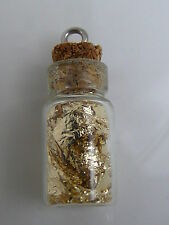 Glass Bottle Vial Pendant Charm Real Flakes Gold Silver Copper Red Green (E3)