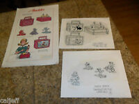 3 LOT ORIGINAL SKETCH  ART & PROOF POSTER ALADDIN LUNCHBOX MINNIE MOUSE SURFING