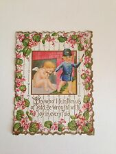 Victorian Lithograph Large Embossed Valentines Card Cherub Flowers Boy Policeman